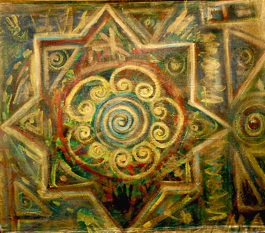 5D nr 324 Compass of Trust, verso, acrylic on 2 sides painted unframed canvas, 150 x 150 cm, 1999  Madama